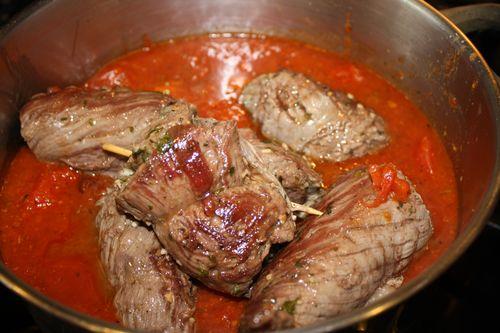 Add braised Brasiole to sauce