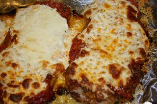Long Finished Eggplant Parm Slices