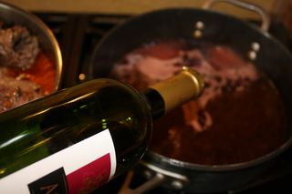 Deglaze with red wine