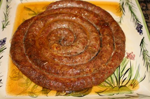A roasted coil of Italian Sausage