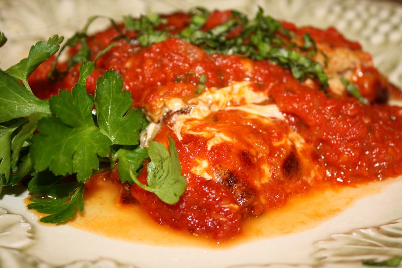 Plate breaded Eggplant Parmesan