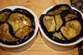 Arrange Eggplant in baking cup